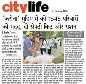 Dainik Bhaskar-City Life,11th June 2020,Pg 2,Karona Initiative