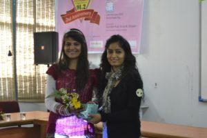 Honour by 'Jyotirgamay' a Punjab University radio to founder Isha Kakaria in their 'Hamari Beti' programme.